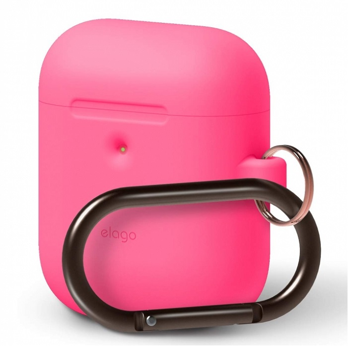 Чехол с карабином Elago для AirPods Wireless Hang case Neon Pink