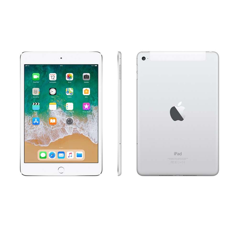 Планшет Apple iPad mini 4 Wi-Fi + Cellular 128 Gb. Цвет: серебристый (MK772RU/A)