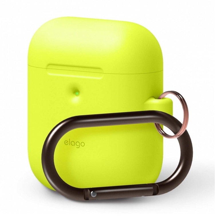 Чехол с карабином Elago для AirPods Wireless Hang case Neon Yellow